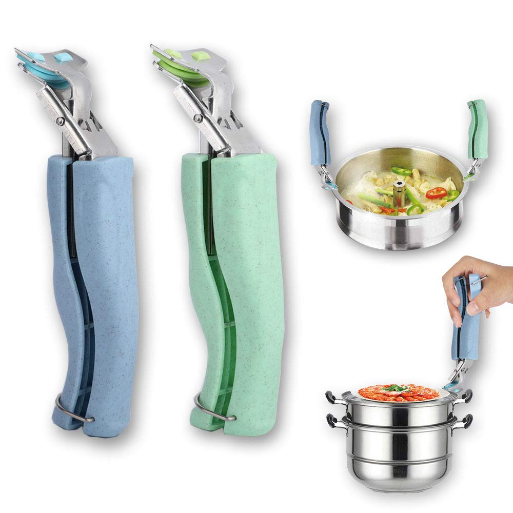 (2 Packs) Gripper Clips,Retriever Tongs for Moving Hot Plate or Bowls with Food Out,Kitchen Stainless Steel Exquisite Bowl Pot Pan Gripper Clip From Instant Pot, Microwave, Oven, Air Fryer.