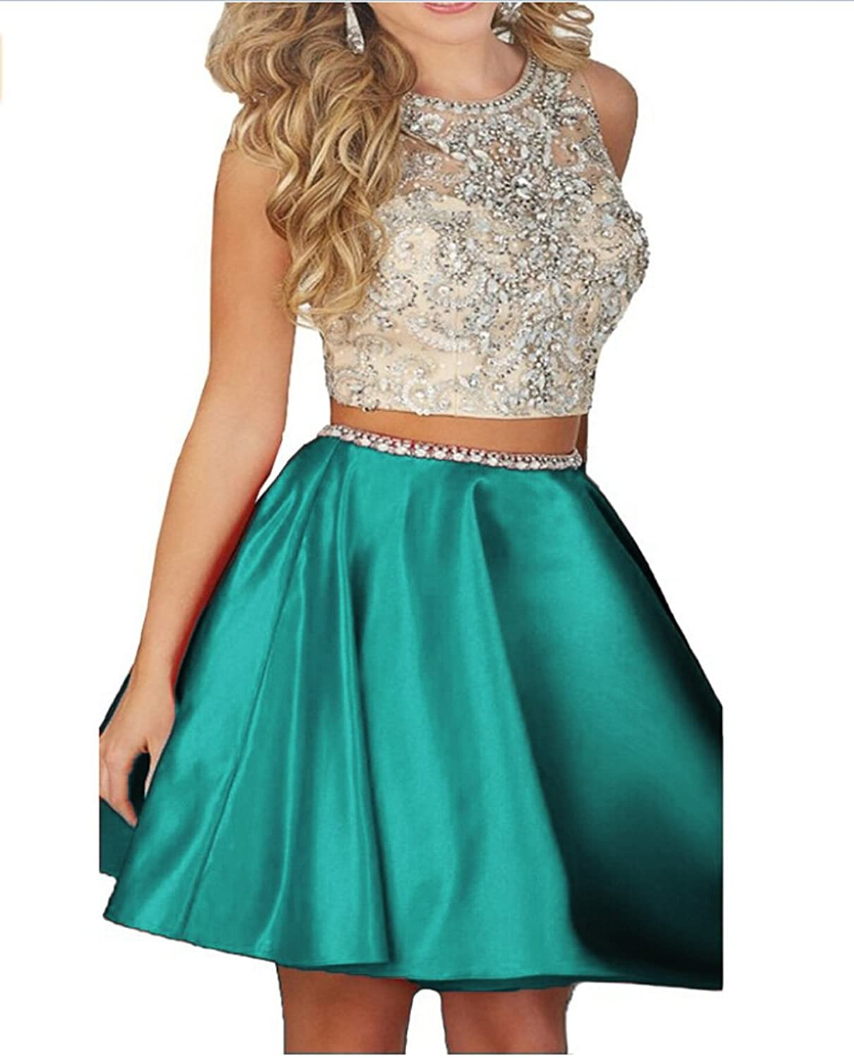 Amazon.com: Ivy Beaded Two Pieces Prom Dresses Stain Short ...