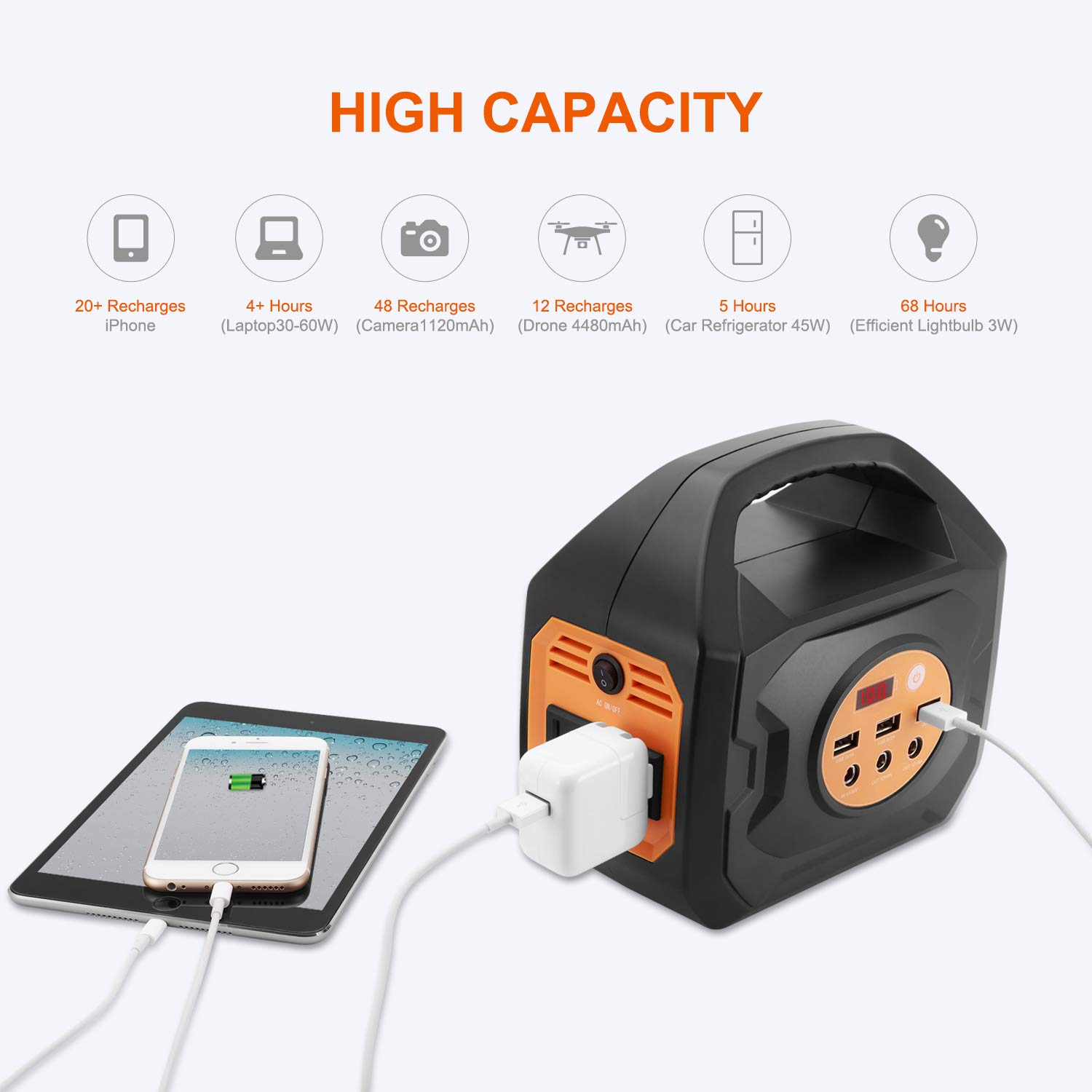Aeiusny 250W Portable Power Station, 200Wh Solar Generators, Lithium Battery Backup Power Supply with 110V Pure Sinewave AC Output 12VDC Output QC3.0 USB Ports for Camping Trip, Fishing, Emergency