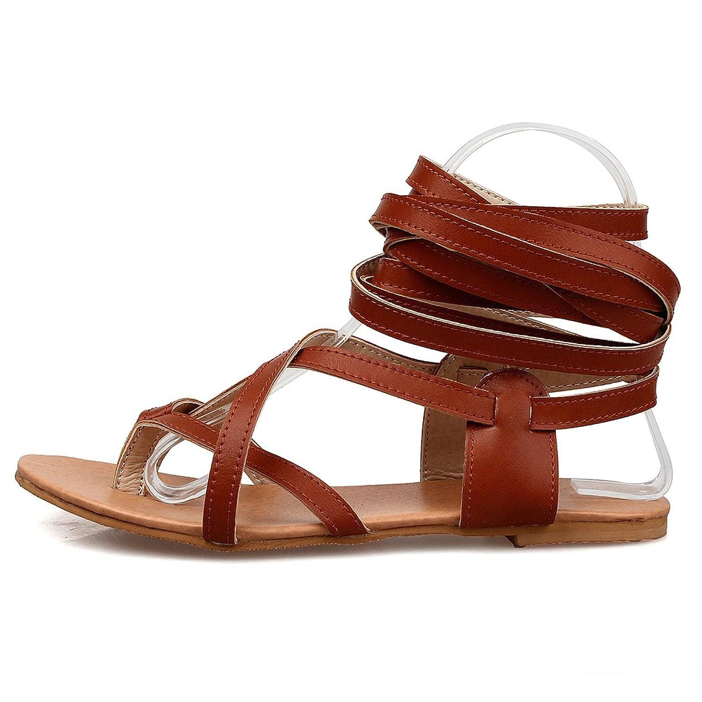 YE Damen Flache Ankle Strap Zehentrenner Römersandalen ohne Absatz Modern Schuhe 919k9i