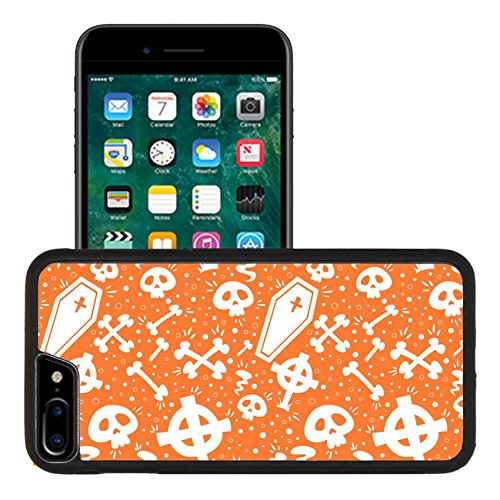 Luxlady Premium Apple iPhone 7 Plus Aluminum Backplate Bumper Snap Case IMAGE ID: 30829505 Creepy cartoon Halloween seamless texture with tomb stones sculls and (Cartoon Tombstone)