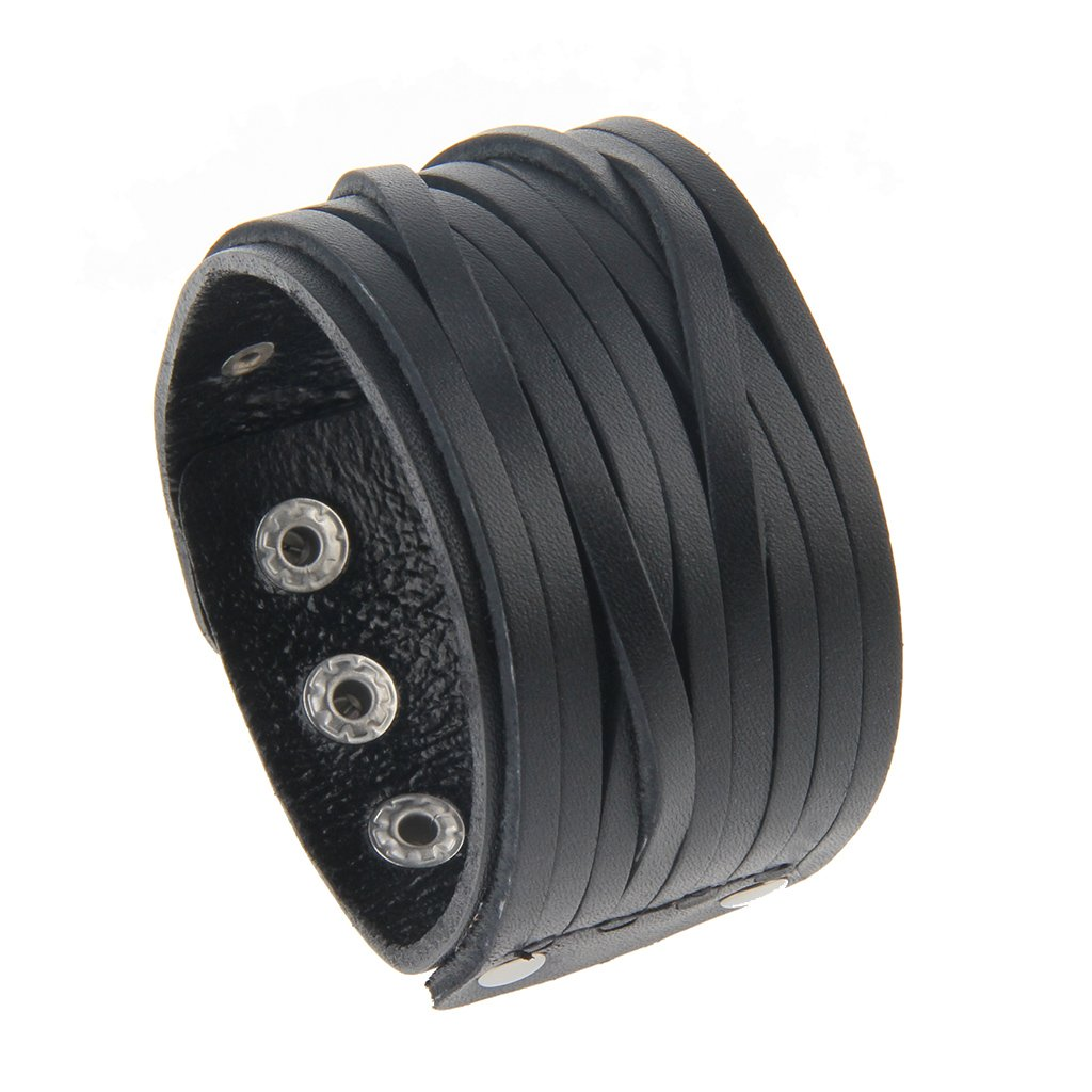 Jenia Wide Genuine Leather Mens Bangle Cuff Bracelet ,Punk Rock,Three Metal Spike Studded Adjustable