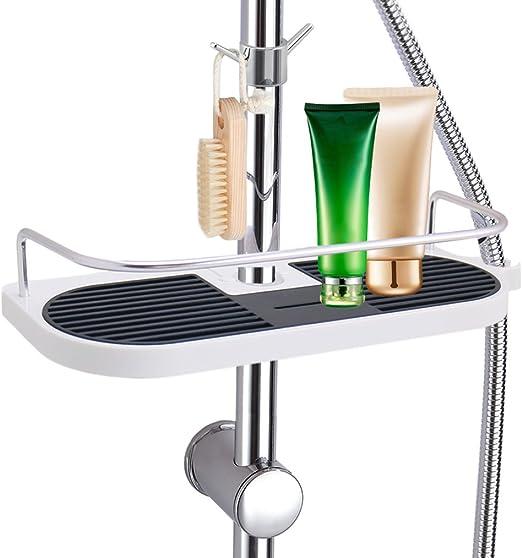 LEEFE Estante para Ducha de Espacio Aluminio, Estanterías Desmontable de baño sin Perforar con Dos Ganchos, Organizador del cubículo de ducha – Adecuado para 19mm - 25mm Carril Redondo: Amazon.es: Hogar
