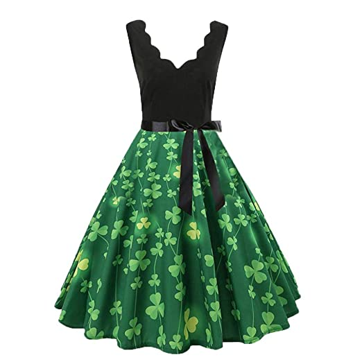 bc0db3927 Womens Sleeveless Clover Pattern V-Neck Vintage Plus Size Knee-Length St  Patrick's Day Evening Party Pleated Skirt Dress at Amazon Women's Clothing  store: