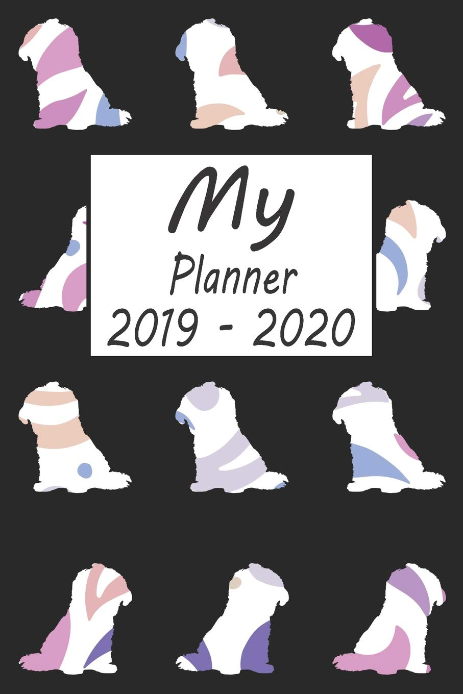 My Planner 2019 - 2020: Shih Tzu Dog Pattern Black Weekly ...