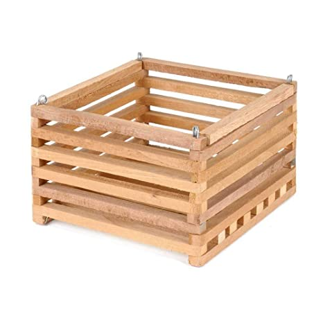 Wood Slat Vanda Orchid Basket Square Cedar 12 Inch With 20 Inch 4 Way Hanger