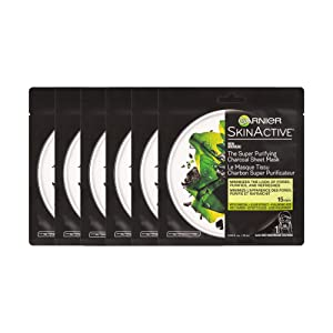 Garnier SkinActive Super Purifying Charcoal Sheet Mask,6 Count