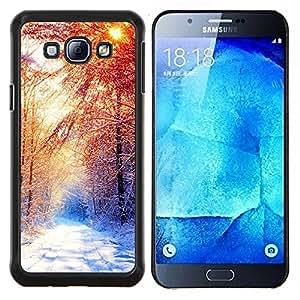 KLONGSHOP // Cubierta de piel con cierre a presión Shell trasero duro de goma Protección Caso - Invierno Hermoso Forrest - Samsung Galaxy A8 A8000 //