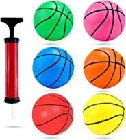 Shindel 4.7 inches Mini Toy Basketball, 6PCS Basketball for Toddlers, Colorful Kids Mini Toy Basketball Rubber Baketball for