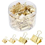 Binder Paper Clips, Assorted Sizes Set (Mini, Small, Medium, Large) for Office School and Home Supplies (Gold)