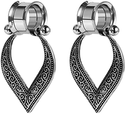 Screw Fit Flower Design Stainless Steel Ear Gauges Flesh Tunnel Plugs Earlets Please Choose Size