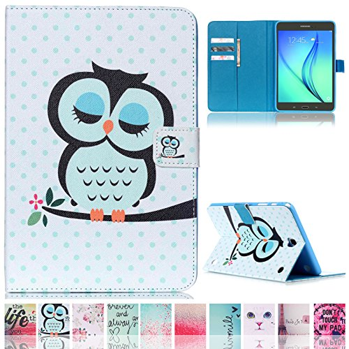 T350 Case,Galaxy Tab A 8.0 Case,Ucover(TM) Colorful Cartoon [Money/ Card Slot] Smart Wallet Case [Auto Sleep/Wake Feature] for Samsung Galaxy Tab A 8.0 SM-T350 (Owl) (Tablet Owl Case)