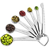 Measuring Spoons Set Stainless Steel - 7 Pieces Kitchen Aid Metal Spoons includes Teaspoon and Tablespoon Engraved with Leveler and Ring Holder, Measuring Tiny Dry and Liquid Ingredients - Molecee