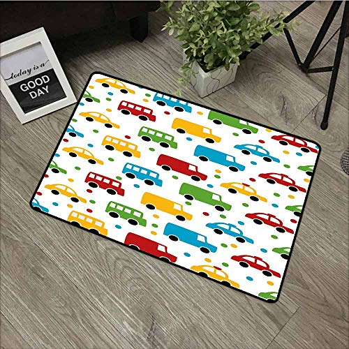 LOVEEO Custom Doormat,Cars Vivid Colored Silhouettes of Transportation Vehicles Bus Taxi Automobile Kids Pattern,Easy Clean Rugs,35