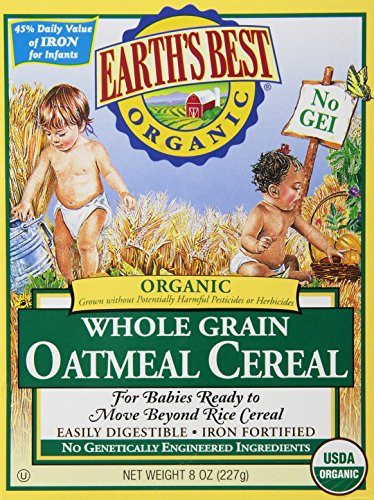 Earth's Best Certified Organic Whole Grain Oatmeal Cereal - 8 oz Each/Pack of 2