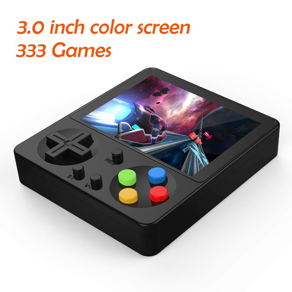 LFJSTECH Handheld Game Console, 333 Classic Games 3 Inch LCD Screen Portable Retro Video Game Console Support for Connecting TV and Two Players, Good Gifts for Kids and Adult. (Black)