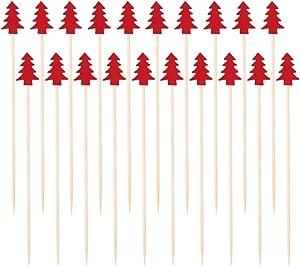 UPKOCH 200pcs Wooden Christmas Tree Shape Cocktail Picks Bamboo Fruit Toothpicks Sandwich Appetizer Cocktail Sticks Christmas Party Supplies