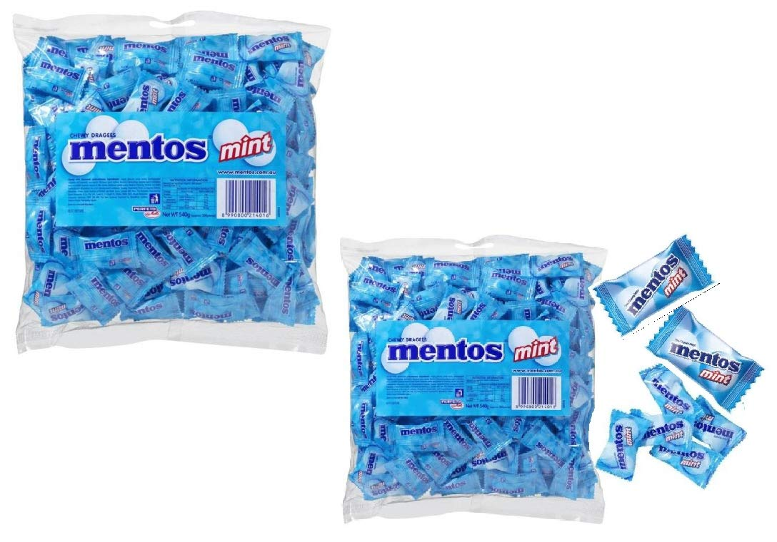 Mentos Mint 400 Count Mint Flavour.2.35lb / 1.08kg - Individual Packs - Home - Office -Candy Buffet - Party Favor Bags - Boxes Sweets (2 Packs) by Mentos