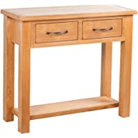 Console Table with 2 Drawers simple stylish design to living room dining room hallway 83 x 30 x 73 cm Oak