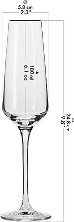 Krosno Copas Flauta Boda Cava de Champán | Conjunto 12 Piezas | 180 ML | Avant-Garde Collection Uso en Casa, Restaurante y en Fiestas | Apto para Microondas y Lavavajillas