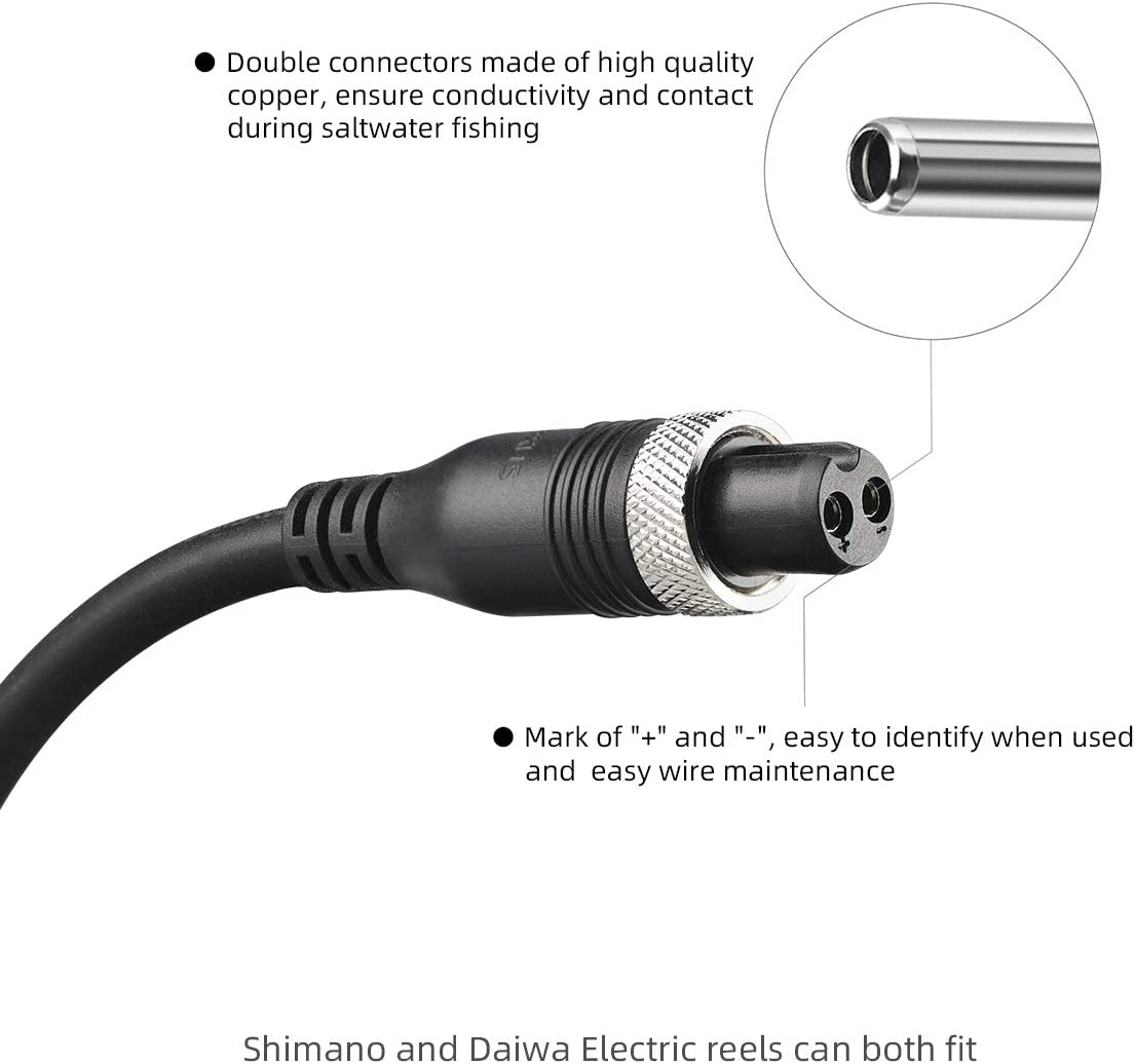 Electric Fishing Reel Durable Power Cord Cable Connectors Part for Daiwa//Shimano