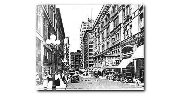 Vintage Oklahoma City Street Model Car Set 16x20 Black And White Wall Art Print