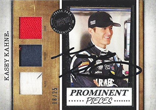 AUTOGRAPHED Kasey Kahne 2013 Press Pass Legends PROMINENT PIECES (Firesuit-Glove-Shoe) Race-Used Insert Signed NASCAR Trading Card with COA (#18 of 25) - Kasey Kahne Pieces