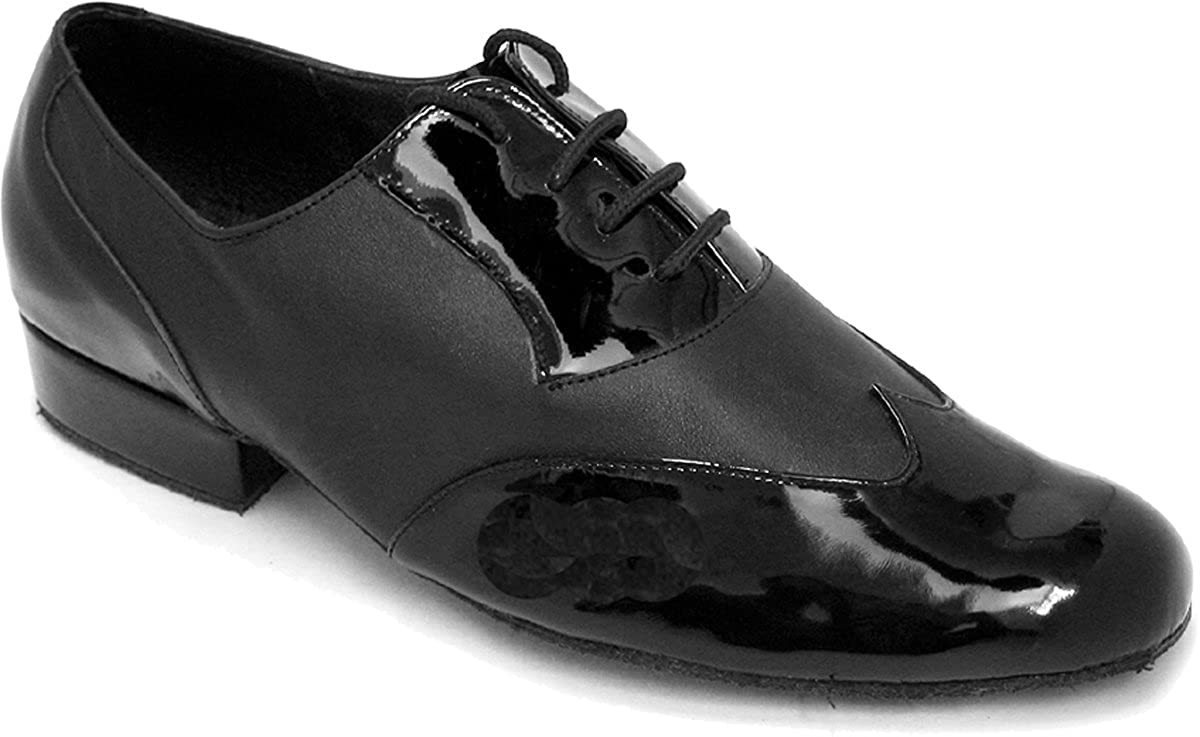 Very Fine Mens Salsa Ballroom Tango Latin Dance Shoes Style M100101 Bundle with Dance Shoe Wire Brush,Color BlackPatentLeather Size:8
