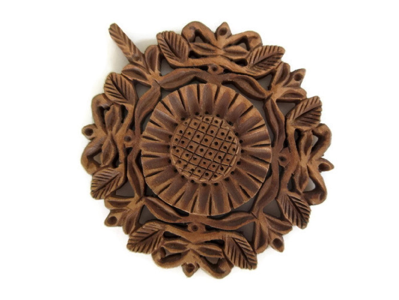 Hand Carved Wooden Flower Pendant, Handmade Jharokha Pendant, Wood Art And Craft Framing Supplies Jewelry, GDS1046/6 (2 Pieces)