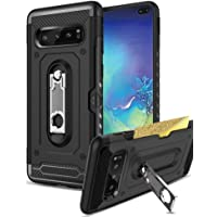 """Samsung Galaxy S10 Plus 6.4"""" inch Case Slide Armor Wallet Card Slot Kickstand Rugged Hybrid Cover for Galaxy S10+ (Black)"""