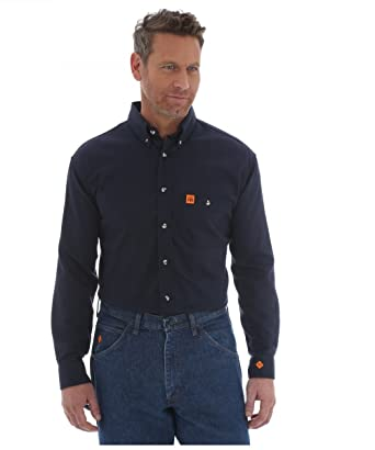 478ed336b Wrangler Men's Riggs Fr Flame Resistant Solid Twill Work Shirt Navy X-Large