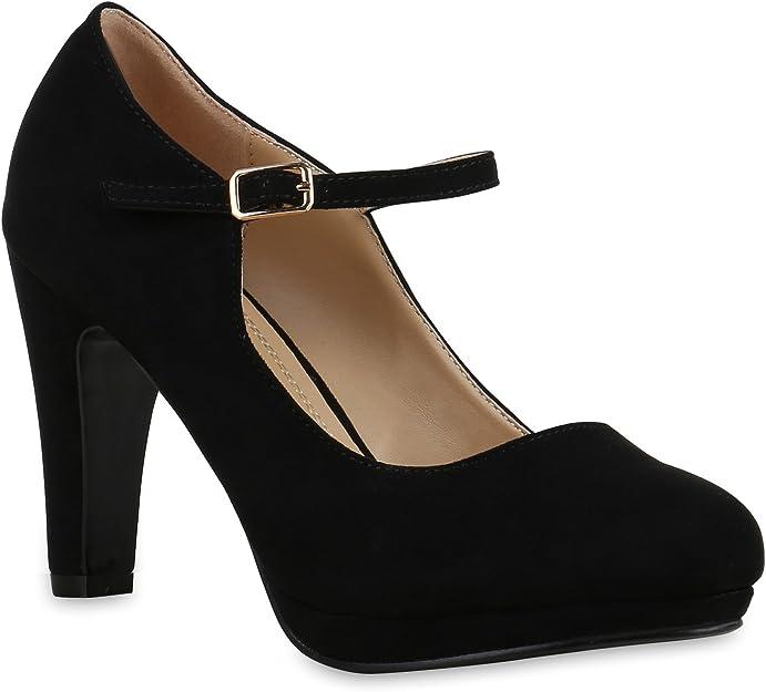 TALLA 36 EU. stiefelparadies Zapatos de tacón con plataforma y cierre delantero