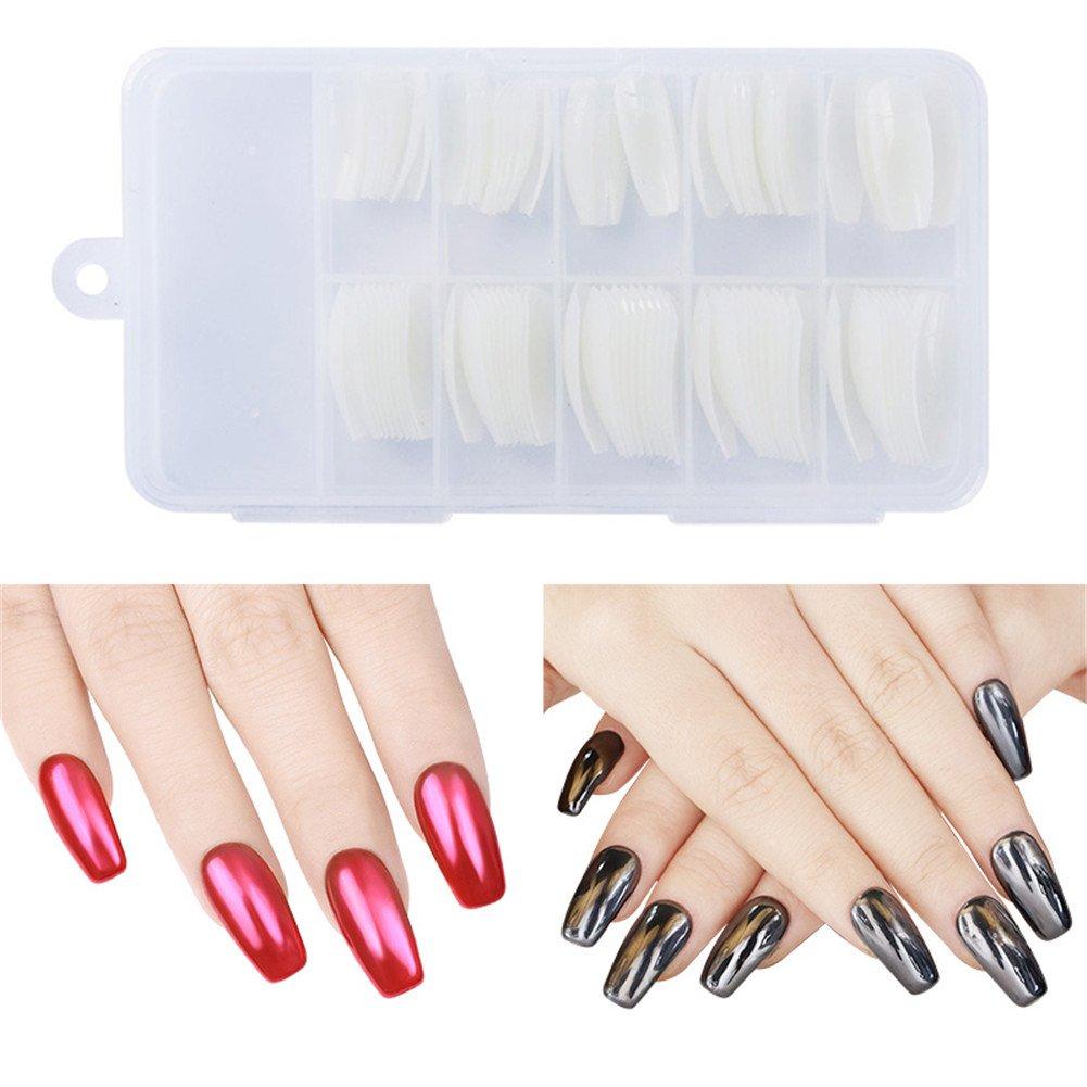 NICOLE DIARY 100Pcs False Nail Tips Coffin Shape Multi-size Fashion Beauty Half Nail Art Tips Tool With Box (Transparent color) by NICOLE DIARY