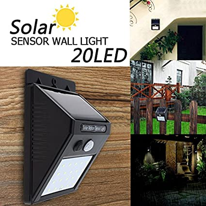 US1984 Solar Powered Led Wall Light XF-6009 20 LED Motion Sensor Street Lights with Upgraded Solar Panel-242