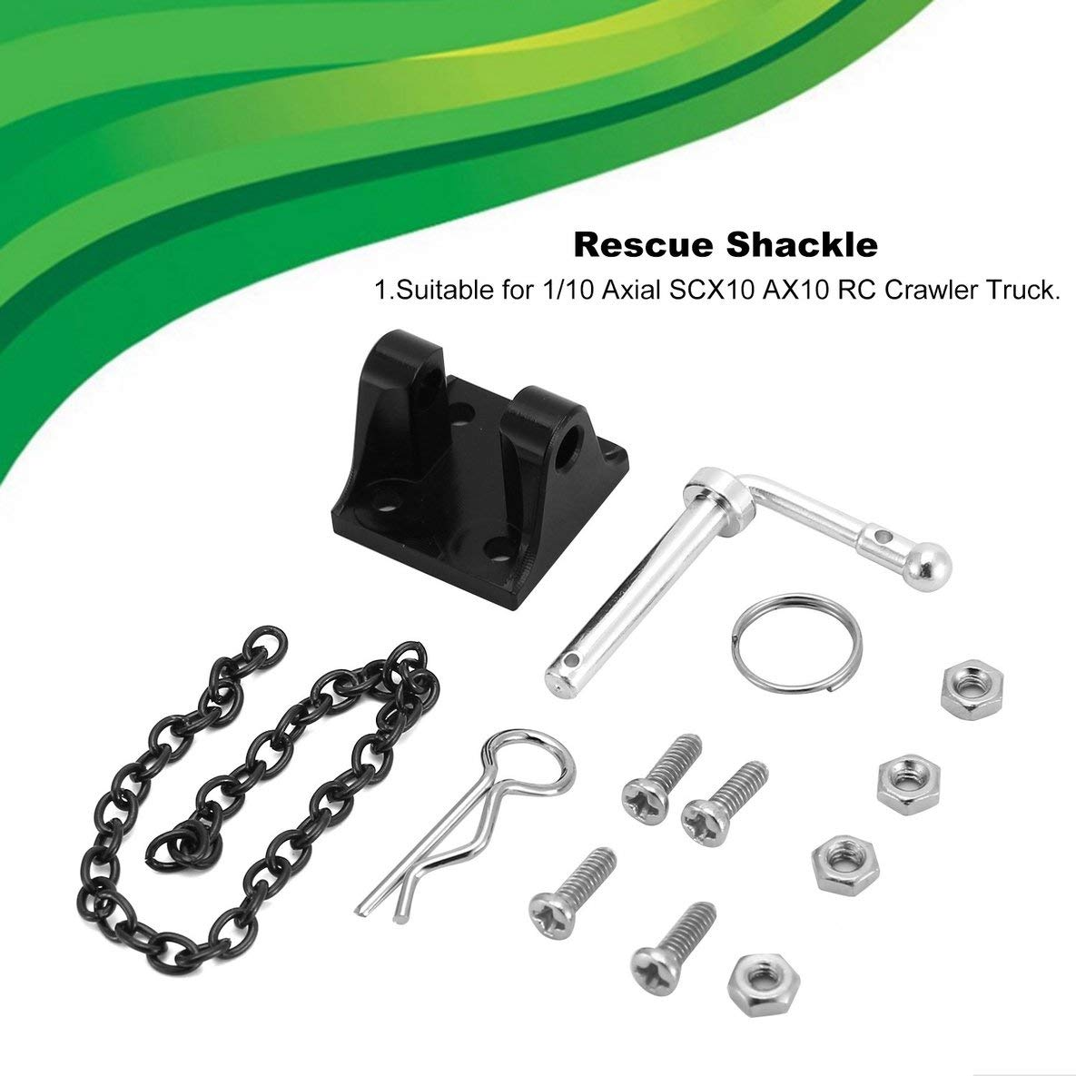 Noradtjcca Simulation 1//10 Hitch Tow Shackles Trailer Hook Set Metal Climbing Rope Chain Spare Parts RC Crawler Model Accessories