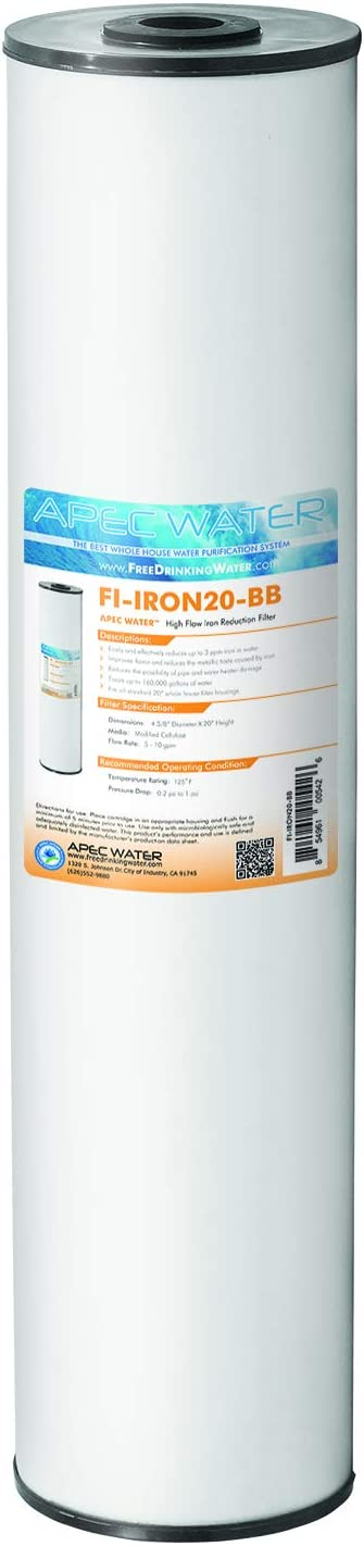 """APEC Water Systems 20"""" Whole House Big Blue Replacement Water Filter High Flow Iron Reduction (FI-IRON20-BB)"""