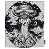Mugod Alien Spaceship Blanket UFO Abduction of a Human with Flying Saucer Fuzzy Soft Cozy Warm Flannel Throw Blankets Decorative for Adults Kids Women Men Girls Boys 60x80 Inch