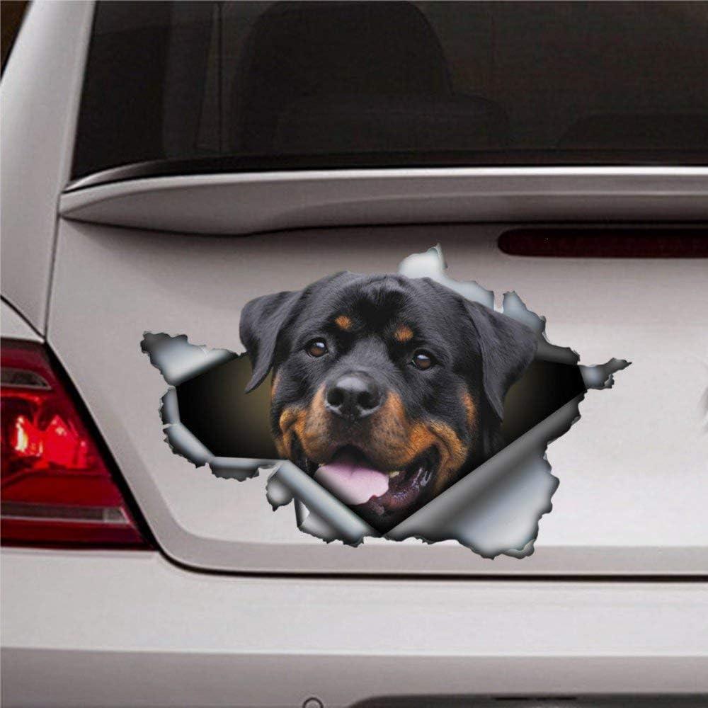 DONL9BAUER Rottweiler Dog Car Stickers Vinyl Auto Scratch Cover 3D Sticker Car Decal for Laptop Travel Case Tumbler Door Window Bumper Luggage Idea