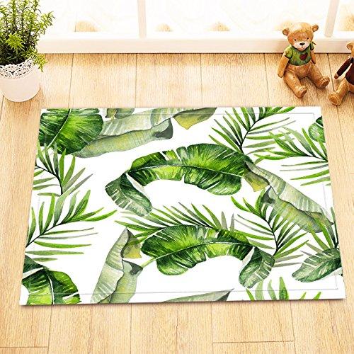 LB Banana Leaf Easter Palm Tree Leaves Decor Small Bath Rugs for Bathroom, Non Slip Backing Soft Flannel, Green Watercolor Tropical Leaf Bath Rug 15 x 23 Inches