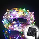 T HomeLight Solar Power String Light 100FT/300Leds ON/OFF Flash 2 Mode Copper Decor Led Light, Patio, Yard, Travel, Motor Home Muti-Color