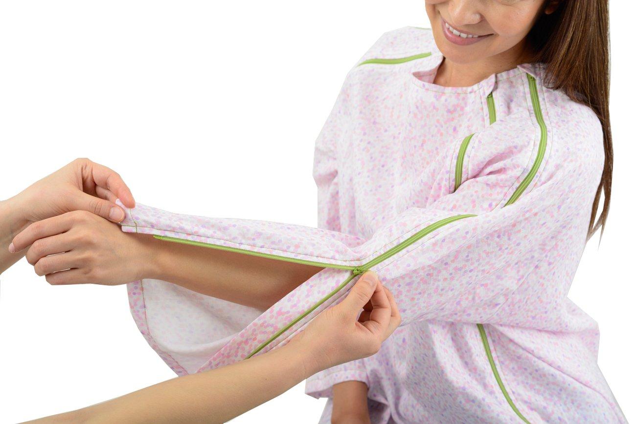 【長袖上同色2枚セット】入院介護に前開きWジップパジャマ 『点滴したまま着がえるパジャマ』 B071J2YMTZ L|ドットピンク×2枚 ドットピンク×2枚 L