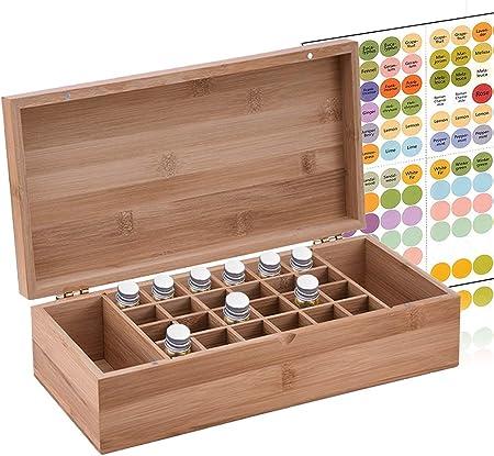 NiceMeet Caja de Bambú de Almacenamiento de Aceite Esencial de 26 Ranuras Organizador - Almacenamiento 5-15 ml de Botellas de Aceites Esenciales y Perfume: Amazon.es: Hogar