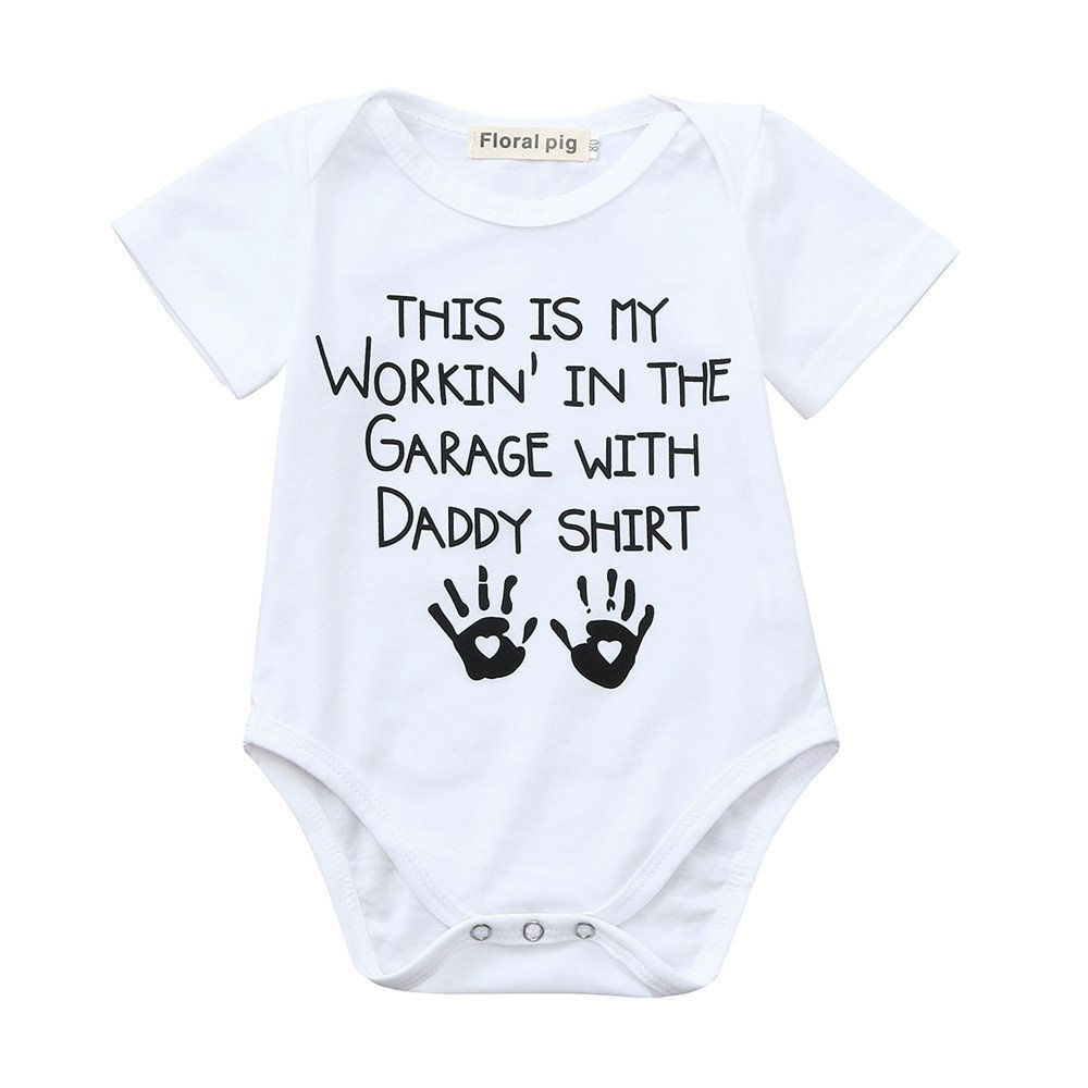 Sameno Newborn Baby Boys Girls Short Sleeve Letter Print Romper Jumpsuit Outfits Clothes