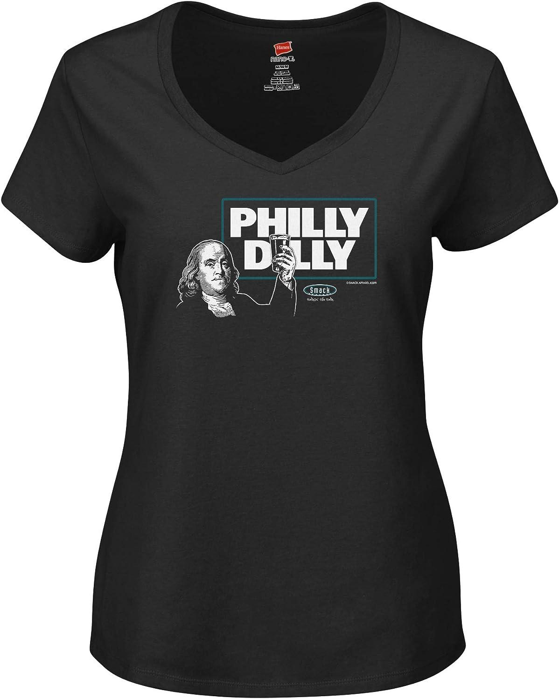 Sm-2X Smack Apparel Philadelphia Football Fans Philly Dilly Black Ladies T-Shirt