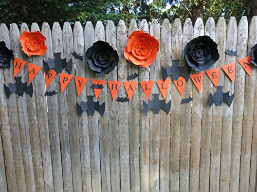 (Happy Halloween Backdrop Pennant Banner, Bats and Paper Rose Flowers, Party Decoration Classic Vintage Look)