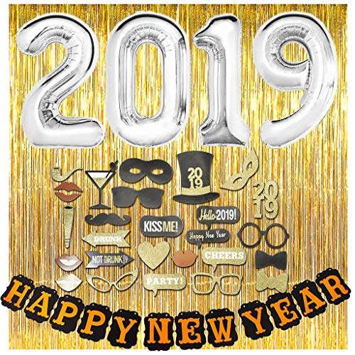 DNYSS New Years Eve Party Kit with Photo Booth Props, 2 Gold Foil Fringe Curtain Backdrops, 30 inch 2019 Balloons & Happy New Year Party Banner Decorations
