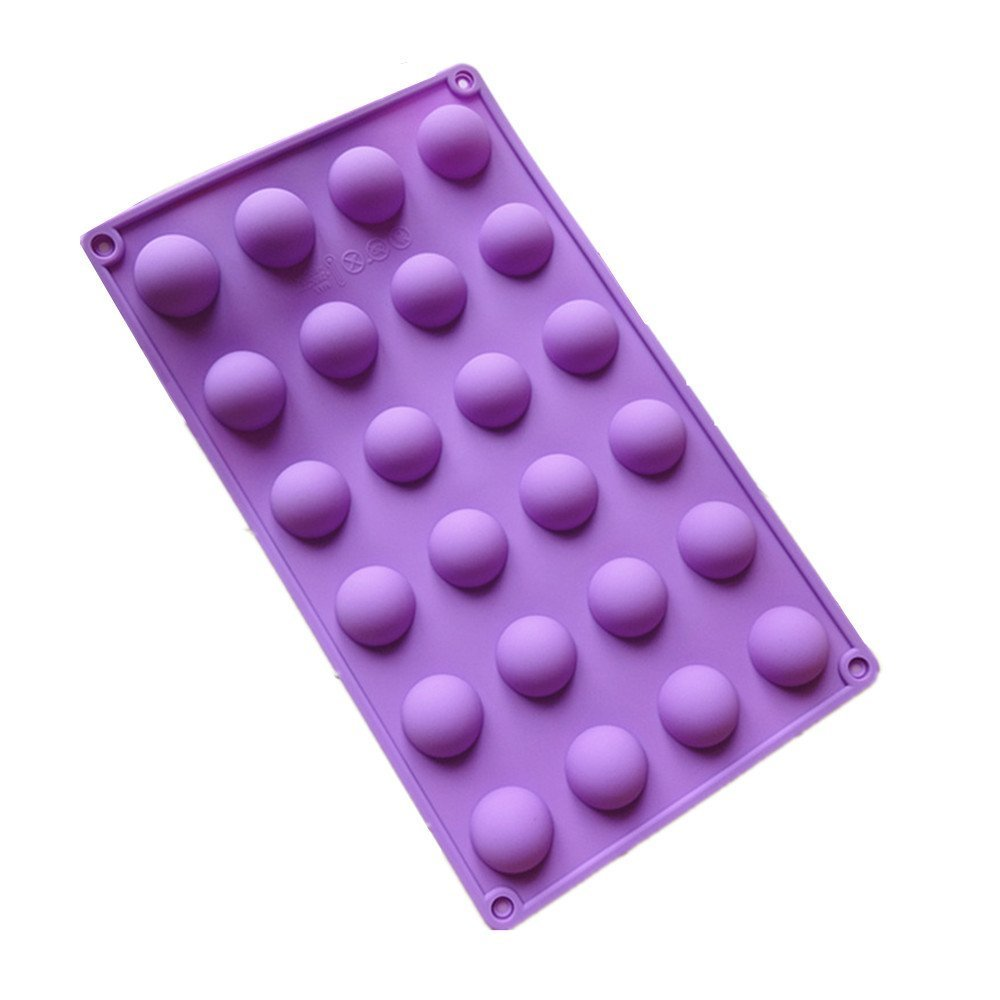 Allforhome 24 Cavity Mini Half Sphere Silicone chocolate candy Mold Ice Cube Tray Baking Pan Moulds BHBA105