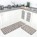 "Carvapet 2 Pieces Microfiber Chevron Non-Slip Soft Kitchen Mat Bath Rug Doormat Runner Carpet Set, 17""x48""+17""x24"", Coffee"