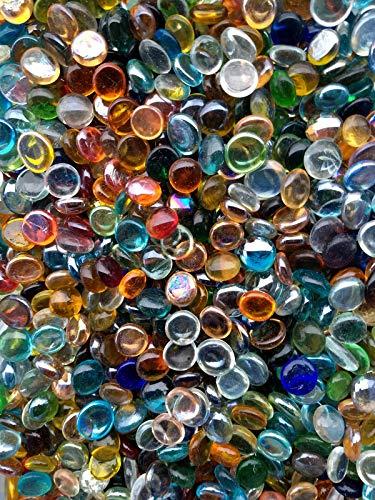 WeJe Glass Gems Standard 17-21mm Round Clear Flat Back Marbles for Home Decor Art Craft Vase Filler Aquarium Gravel (12 OZ (0.75 LB), Clear Color Assortment)