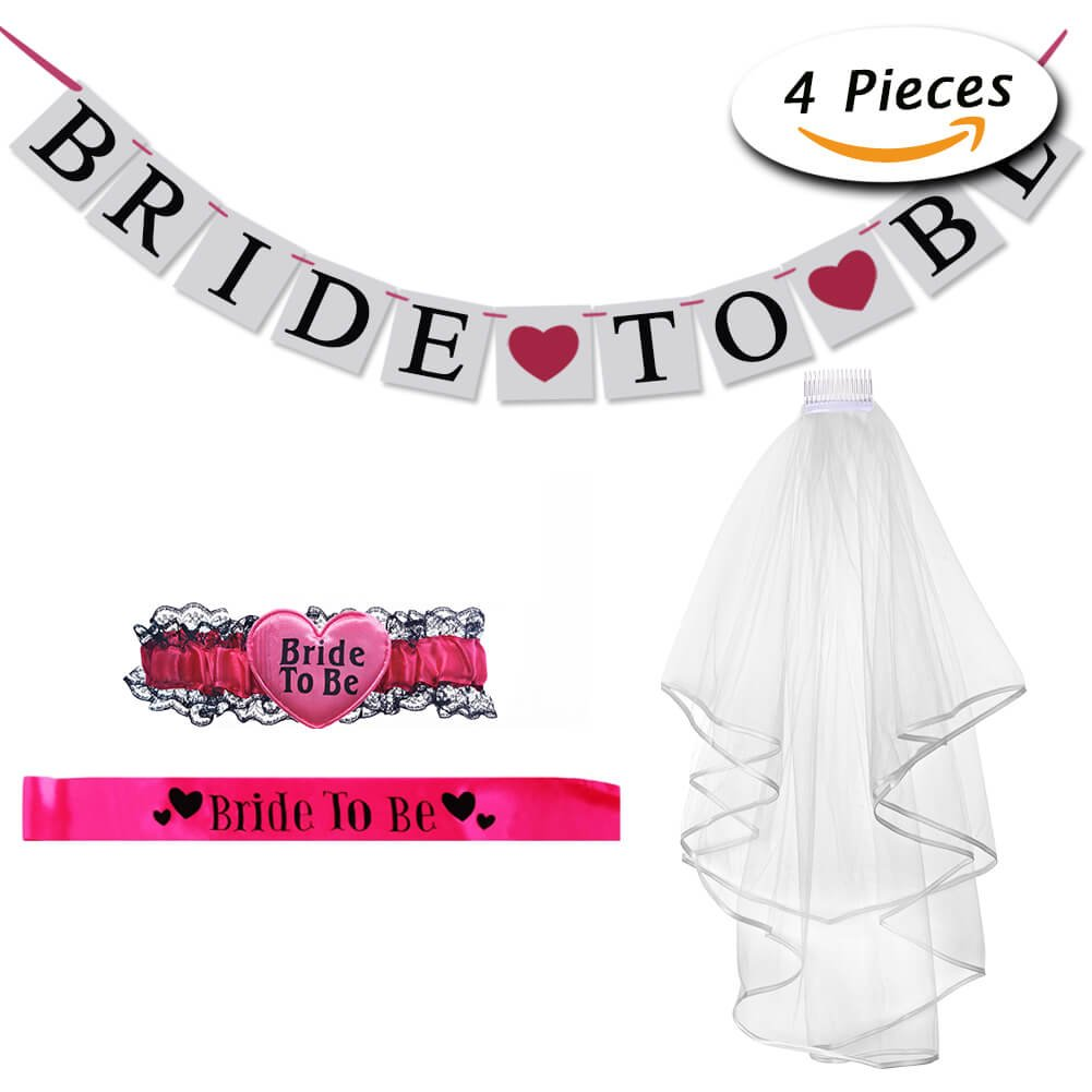 Bride to Be Veil Sash Banner Garter Accessory for Hen Night Party Decorations by Paxcoo
